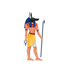 Flat icon of anubis - ancient god of egypt vector