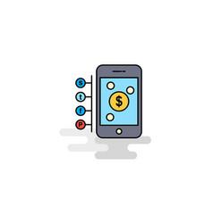 Flat money through smartphone icon vector