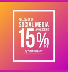 follow us on social media sign poster rectangle vector image