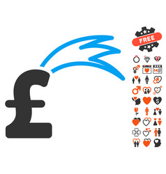 Fortune falling pound icon with lovely bonus vector