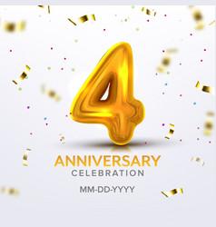 fourth anniversary birth celebration number vector image