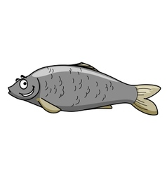 Funny cartoon fish with a happy smile vector