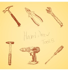 Hand-draw tools set vector image