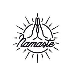 Hand drawn namaste sign Yoga center emblem vector