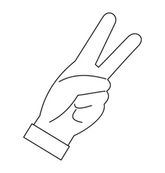 Hand with two fingers icon outline style vector