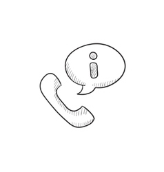 Handset with information sign sketch icon vector