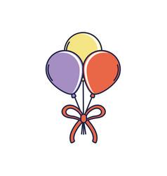 Happy birthday bunch balloons with ribbon vector