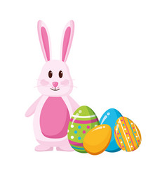 happy easter rabbit eggs vector image