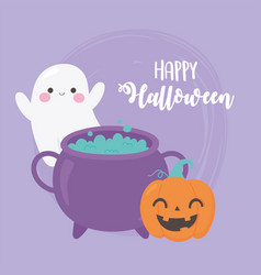 happy halloween pumpkin ghost and cauldron with vector image