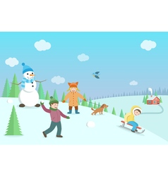 Happy kids playing winter games Winter landscape vector