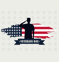 happy veterans day silhouette soldier saluting vector image