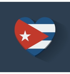 Heart-shaped icon with flag of Cuba vector