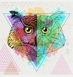 Hipster animal realistic and polygonal owl on vector