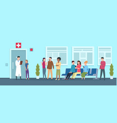 Hospital queue clinic reception waiting room vector