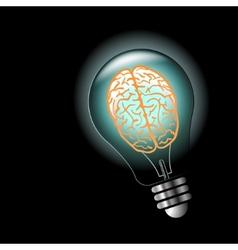 Luminous idea light bulb with brain inside vector