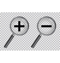 Magnifying glass plus and minus vector