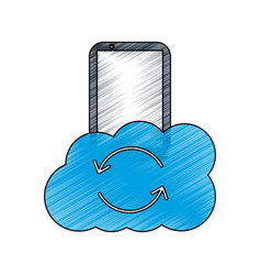 mobile and cloud refresh storage information app vector image