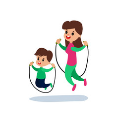 Mom and son jumping with skipping rope together vector