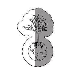 Monochrome sticker of world with tree without vector