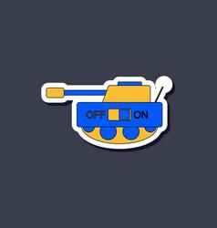 Paper sticker on stylish background kids toy tank vector