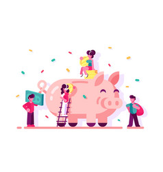 People saving money in piggy bank vector