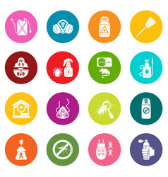 Pest control tools icons set colorful circles vector