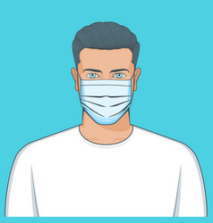 Portrait young man with mask vector