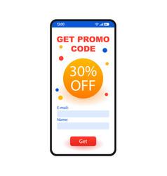 Promo code smartphone interface template vector