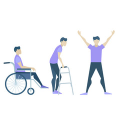 Recovery and rehabilitation steps handicapped man vector