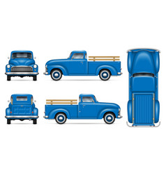Retro blue pickup vector