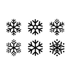 Rounded snowflakes silhouettes black template set vector