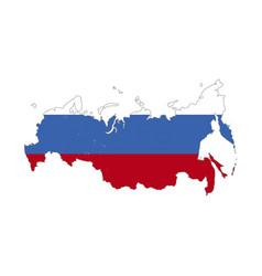 Russia country silhouette with flag on background vector
