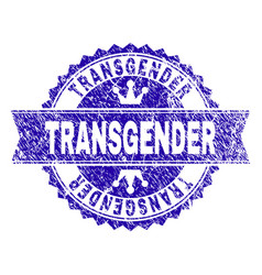 Scratched textured transgender stamp seal with vector