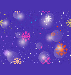 seamless pattern with colorful snowflakes winter vector image