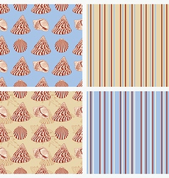 Seamless sea vintage background with seashells vector image