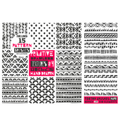 set of 8 primitive geometric patterns collection vector image