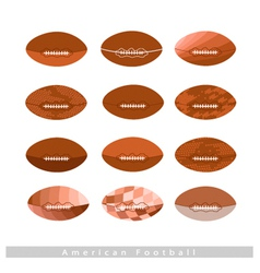 Set of Brown American Footballs on White vector image