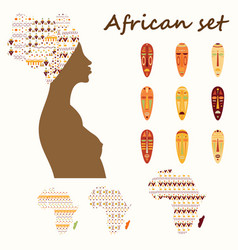 set of colored ethnick african woman masks vector image