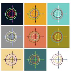 Set of flat icons on stylish background chart vector