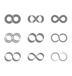 set of monochrome icons with infinity symbols vector image