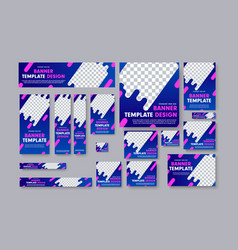 Set of web banners with blue gradients pink vector