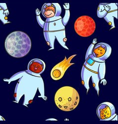Space hand drawn seamless pattern vector