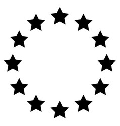 Stars in circle the black color icon vector