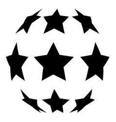 Stars in shape of soccer ball icon black color vector