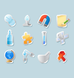 Sticker icons for science and education vector