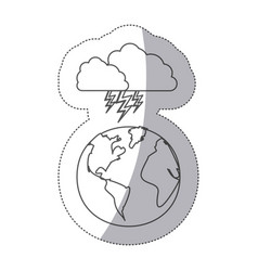 Sticker silhouette earth world cloud with cloud vector