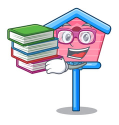 student with book bird house on a tree cartoon vector image