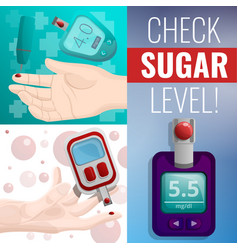 Sugar glucose meter banner set cartoon style vector