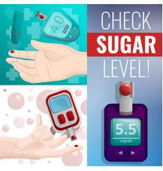 sugar glucose meter banner set cartoon style vector image