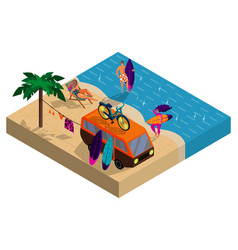 summer camp on beach company young surfers vector image
